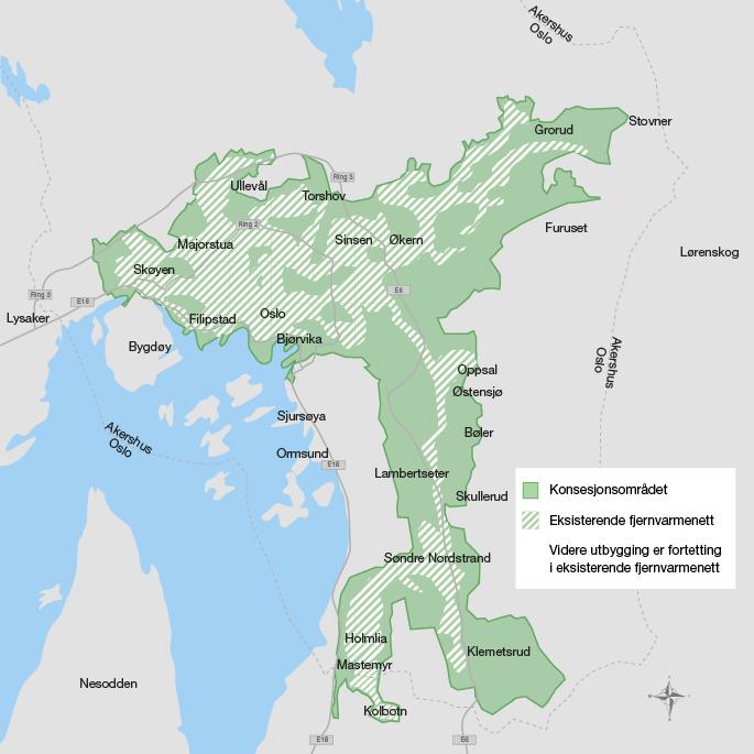 Hafslunds konsesjonsområde for fjernvarmeforsyning